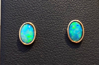 Oval Opal Stud Earrings - 14k Gold
