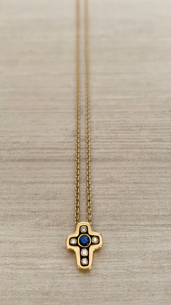 18k, Diamond, and Sapphire Alex Sepkus Cross Pendant