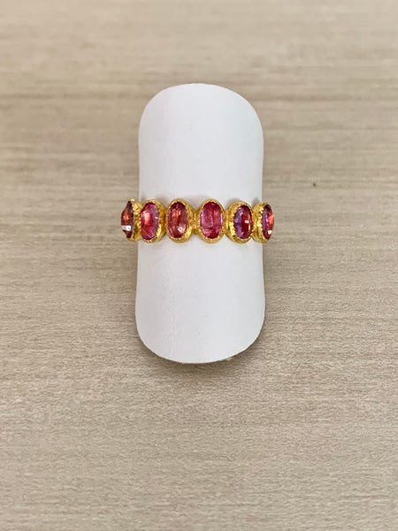 24k Gold and Five Stone Pink Sapphire Ring