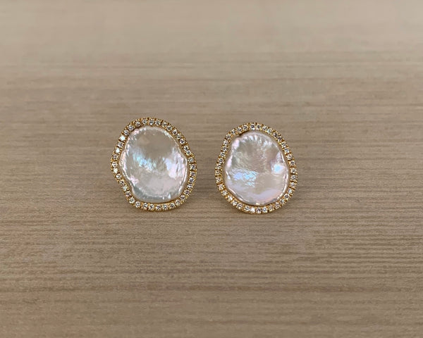 14k, Diamond, and Pearl Mazza Stud Earring