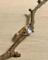 Split Shank Moonstone Ring - 14k Gold, Side Sapphires, Size 7.5