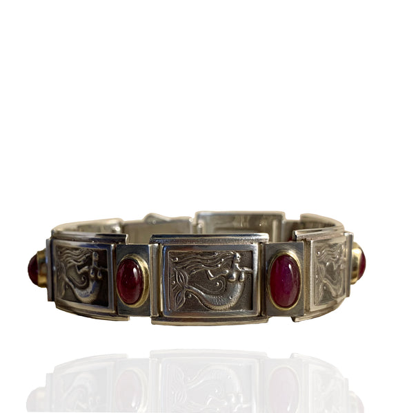 Mermaid Picture Bracelet - Star Ruby, Silver, 18k Gold by Paul Paul D'Olympia