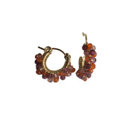 Beaded Hoop Earrings - Garnet, Carnelian, and Pink Topaz by Brenda