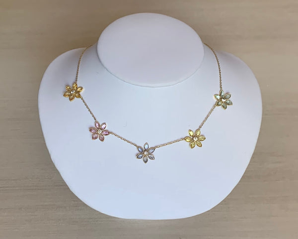 18k Gold John Apel Necklace With Diamond  and Sapphire Flower Drops