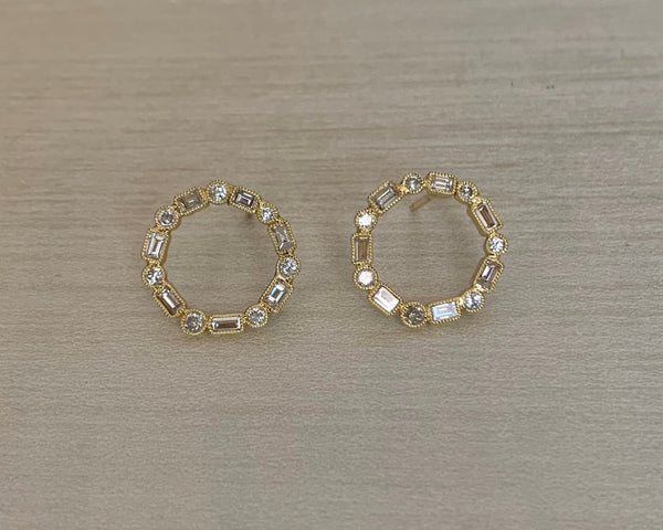 John Apel Diamond Circle Stud Earrings