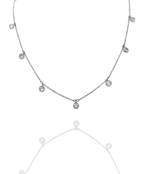 18k White Gold John Apel Necklace With Diamond Droplets