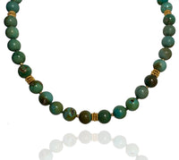 Beaded Turquoise  Necklace with Vermeil Beads