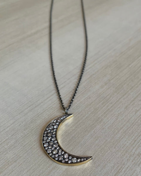 John Apel Diamond Moon Necklace