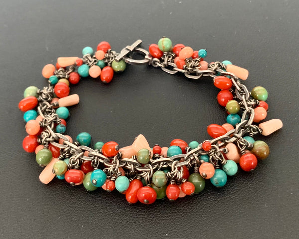 Turquoise, Coral, and Sterling Silver Bracelet
