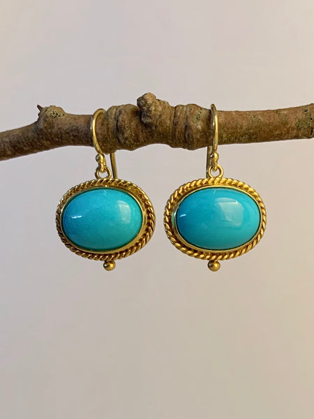 Turquoise Cabochon Earrings - 18K Gold