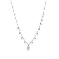 Meira Adjustable 14K White Gold Chain with Floating Diamond Drops and Tiny Pearls
