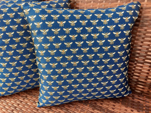Royal blue cushion Golden bee cushion