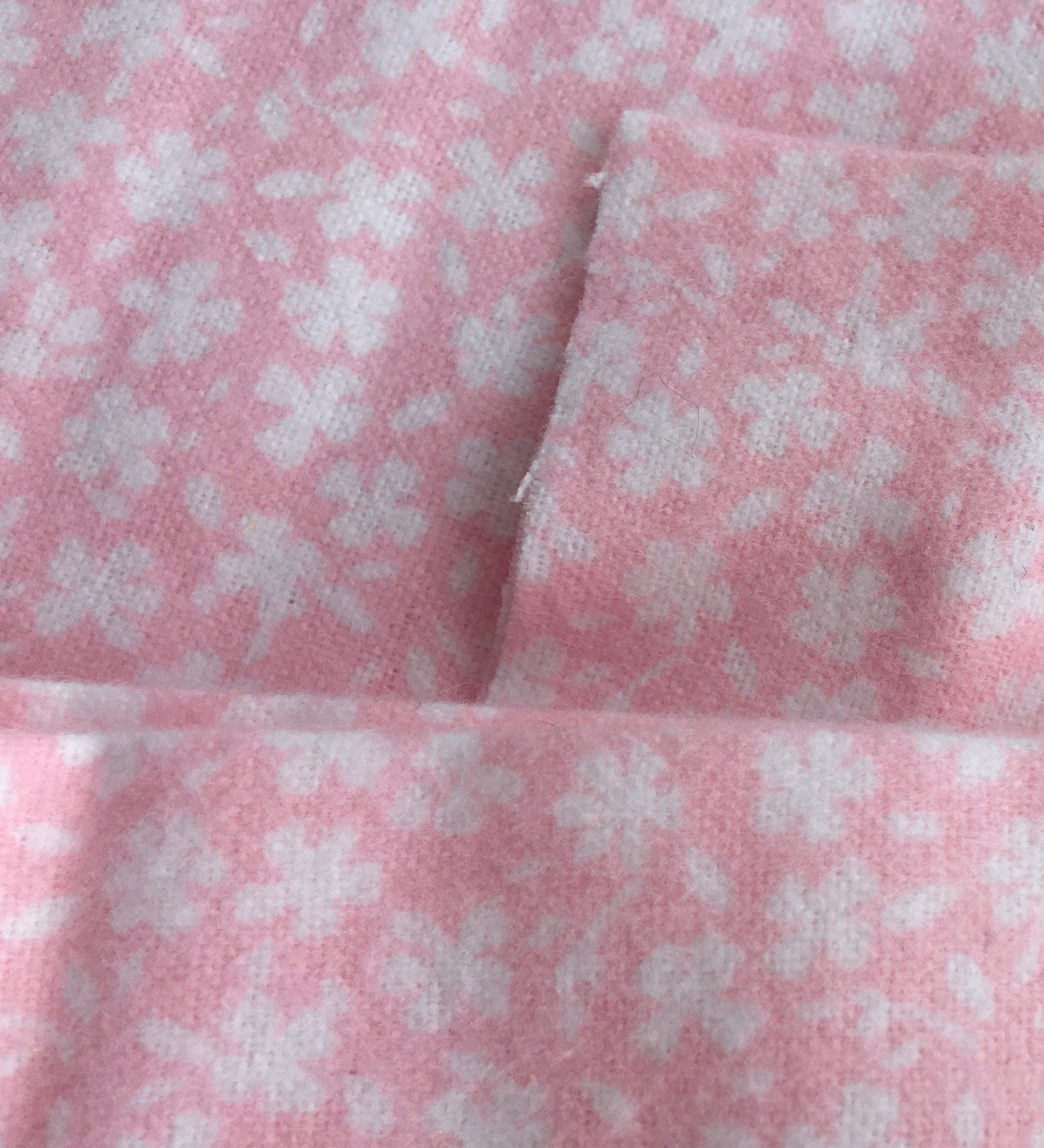 3 metres Floral pink and white fluffy feel