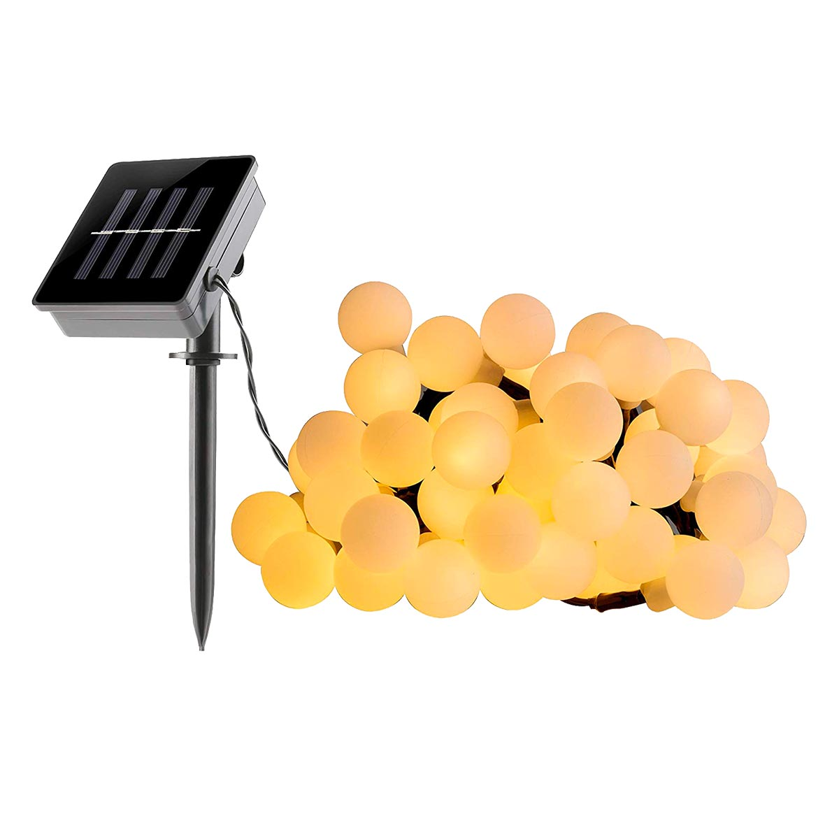 Guirlande lumineuse solaire ampoules rondes 60 LED blanc chaud BILLY L6,90m - REDDECO.com