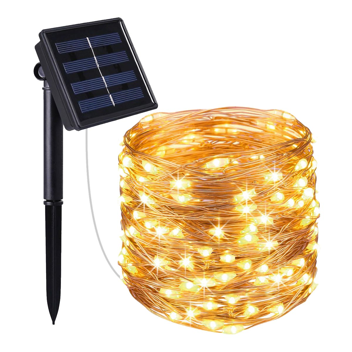Guirlande lumineuse solaire en cuivre 200 micro LED blanc chaud SKINNY SOLAR 21.50m 8 modes - REDDECO.com