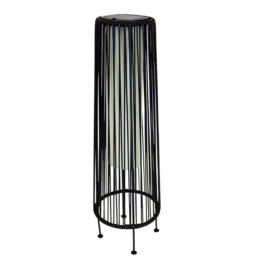 Grande lampe à poser solaire décorative poly rotin noir LED blanc WILLY TALL H69cm - REDDECO.com