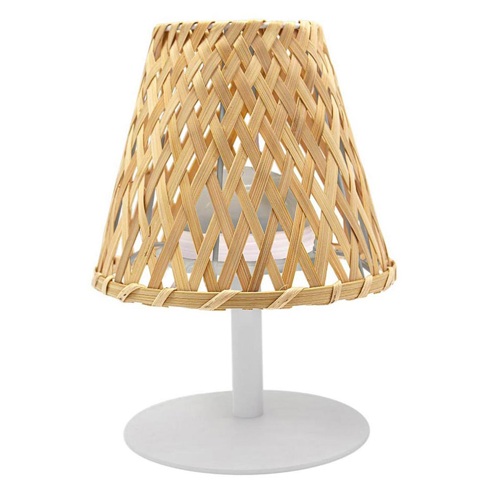 Lampe de table sans fil bambou naturel LED blanc chaud/blanc dimmable IBIZA H26cm - REDDECO.com