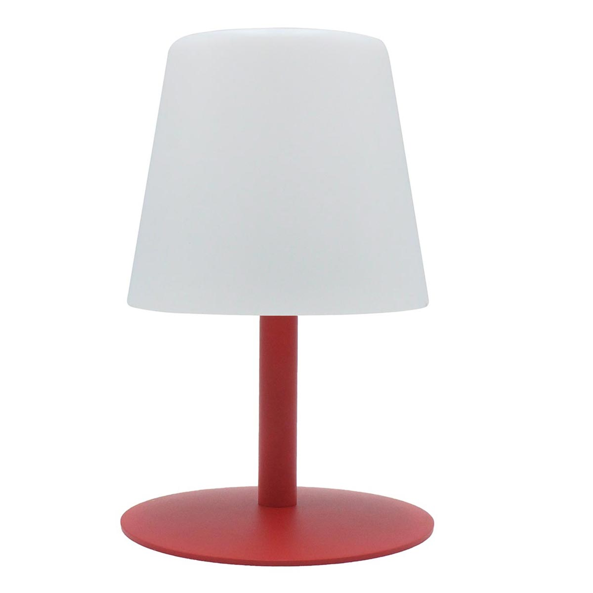 Lampe de table sans fil pied en acier rouge LED blanc chaud/blanc dimmable STANDY MINI Love H25cm26cm - REDDECO.com