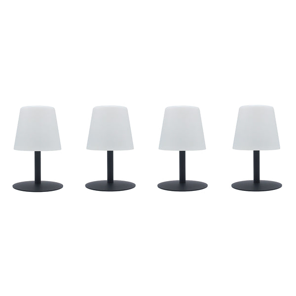 Lot de 4 Lampe de table sans fil pied en acier gris LED blanc chaud/blanc dimmable STANDY MINI Rock H25cm - REDDECO.com