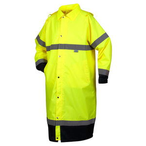 Premium Hi-Vis Raincoat with Drawstring Hood 48""