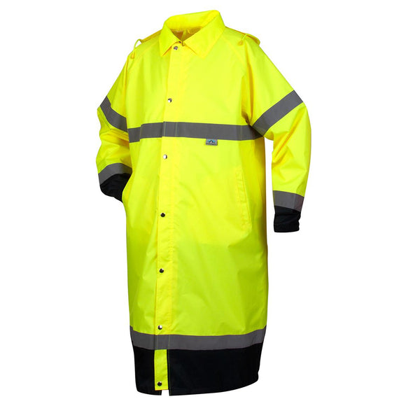 Premium Hi-Vis Raincoat with Drawstring Hood 48