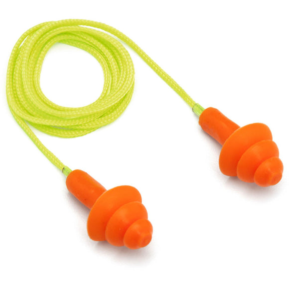 Reusable Corded TPR Rubber Ear Plugs - 24 NRR 50 / Box