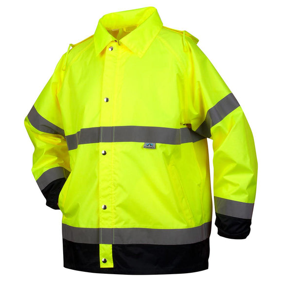 Premium Hi-Vis Rain Jacket with Drawstring Hood