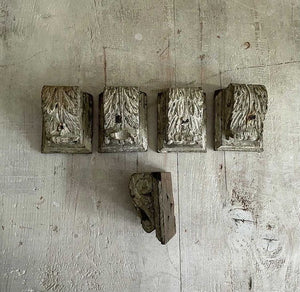 Set Of 5 Small 19th Century French Wooden Corbels