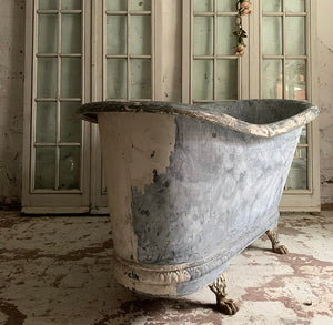 Early 19th Century French Zinc Roll Top Bath