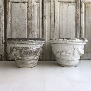 Gorgeous Pair Of Weathered French Swag Planters