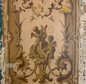 Pair Of Late 19th Century French Hand Painted Cherub Panels