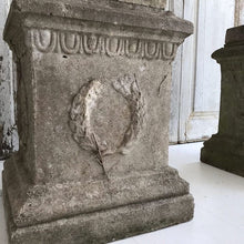 Load image into Gallery viewer, Pair Of Stunning Weathered Urns On Plinths
