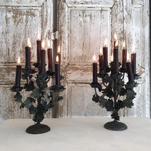 Load image into Gallery viewer, Pair Of French Metal Work Candelabras