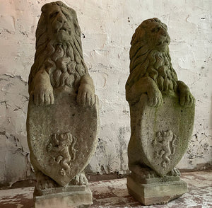 Pair Of 20th Century Heraldic Lions