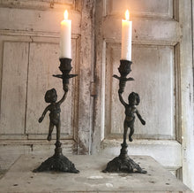 Load image into Gallery viewer, Pair of French Cherub Candlesticks