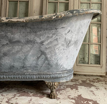Load image into Gallery viewer, Early 19th Century French Zinc Roll Top Bath