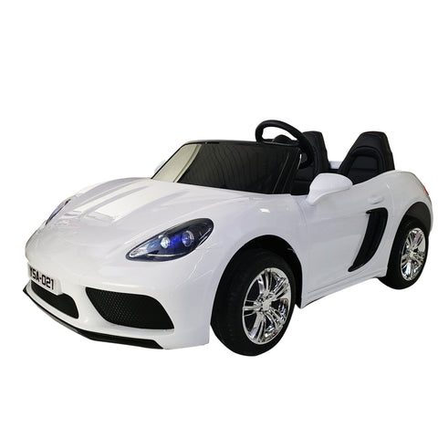 SUPER CAR  XXL PANAMERA - WITH TWO seats FOR KIDS AND PARENTS, 2 batteries 12V10AH each =24V in total - WHITE COLOR .