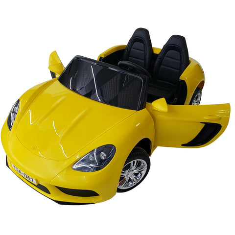 SUPER CAR PANAMERA XXL with 2 Seats for ADULT and KID, 2 batteries 12V10AH each 24V in total - YELLOW COLOR