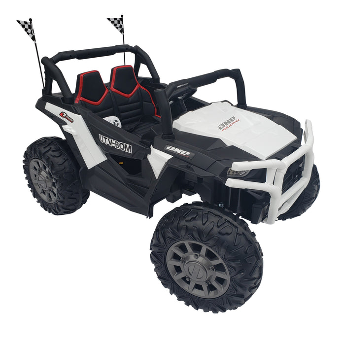 Kids Electric Ride On Buggy-BJC999-24V-white*2 Seats*24 Volt*3 Speed*2 Motors-200 Watts Each*TV Screen
