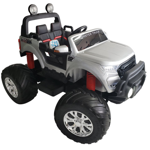 Monster Truck MT750 Silver Kids Electric Battery Operated  Ride On Car With 2 seats