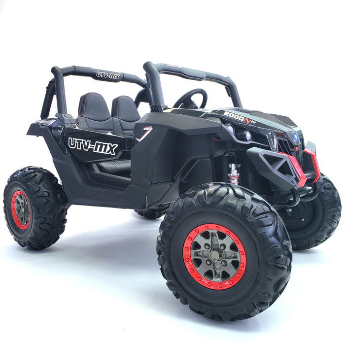Electric Ride On Buggy-XMX603-24V-MP4-black 2 Seats Rubber Wheels 200 Watts Motors