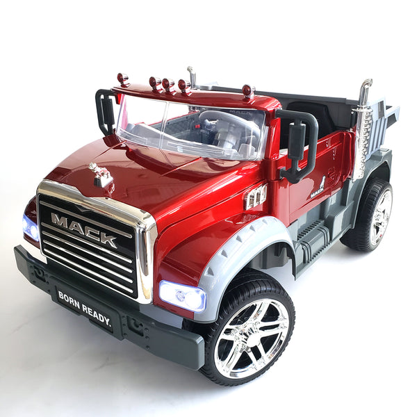 Kids Electric Ride On Mack Truck BJ8822 Red Remote Control Battery Operated 2 Seats Car