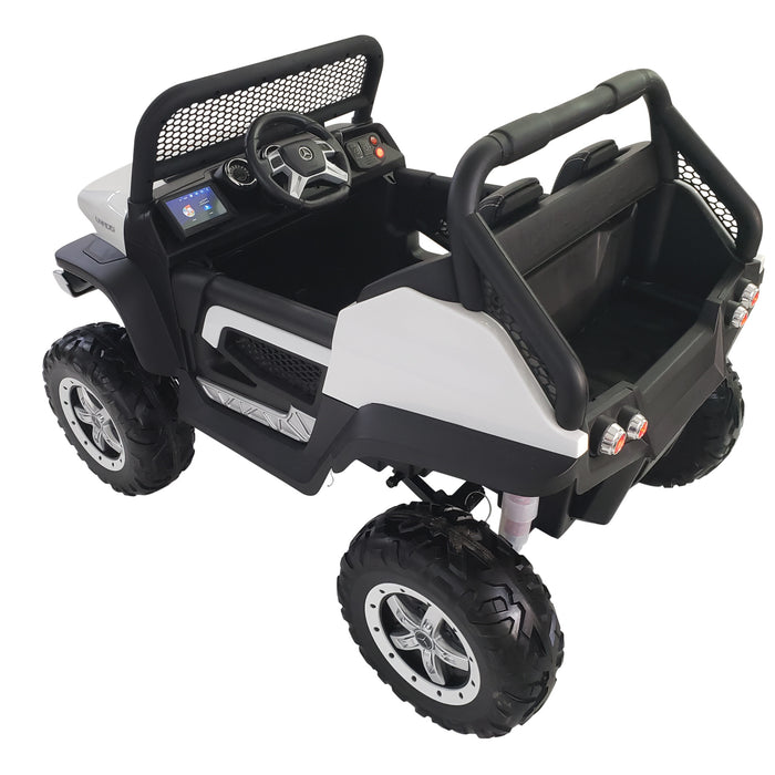 Electric Ride On Mercedes 24V Car MP4 MB-unimog---white*Rubber Wheels*2 Seats*2 Motors 200 Watts Each*TV Screen