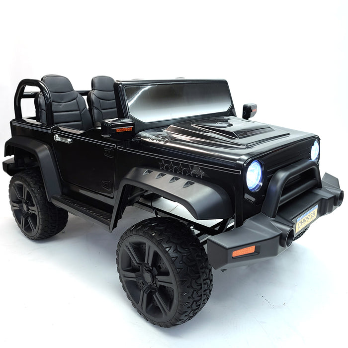 Kids Electric Ride On Car JP 9938 Black Battery Operated 2 Seat 4 motors Rubber wheels  FM RadioSport SUV Model
