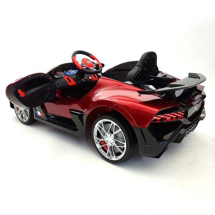 Electric Bugatti Divo Ride On Car 12 Volt Rubber Wheels Leather Seat 3 Speed 2 Motors