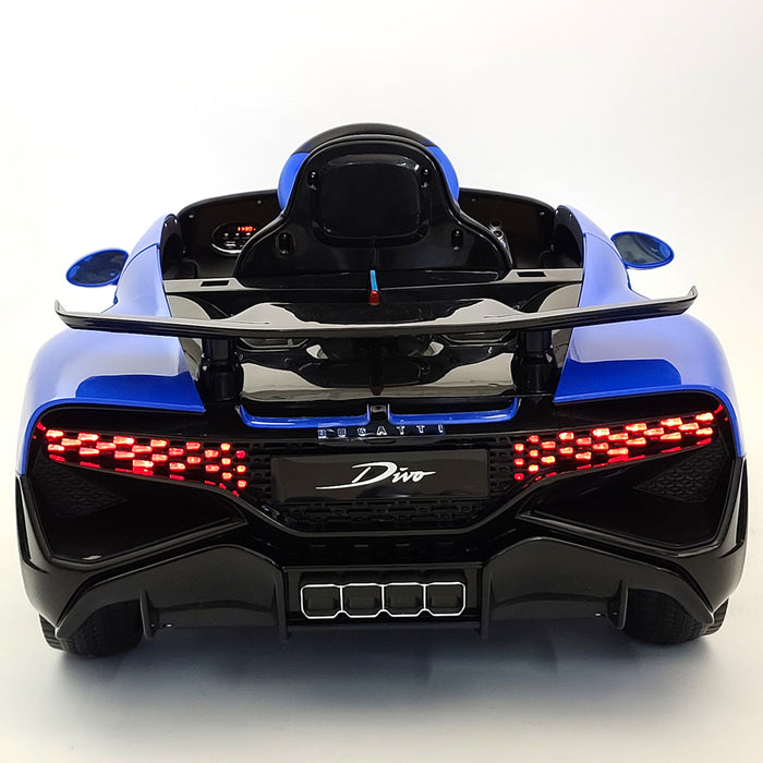 Electric Bugatti Divo HL338 Blue 12 Volt Rubber Wheels 1-Leather Seat 3 Speed 2 Motors
