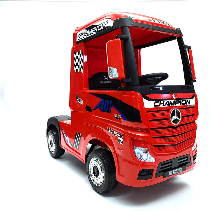 Electric Mercedes Actros HL359-Red  12 Volt Kids Car 1 Leather Seat Rubber Wheels 3 Speed