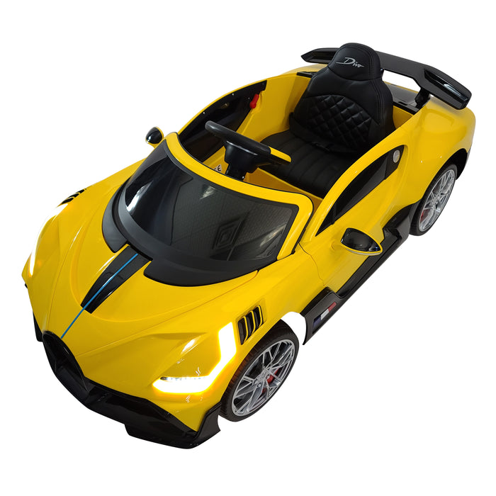 Electric Bugatti Divo HL338-yellow 12 volt Ride On Car 1-Leather Seat Rubber Wheels 3 Speed