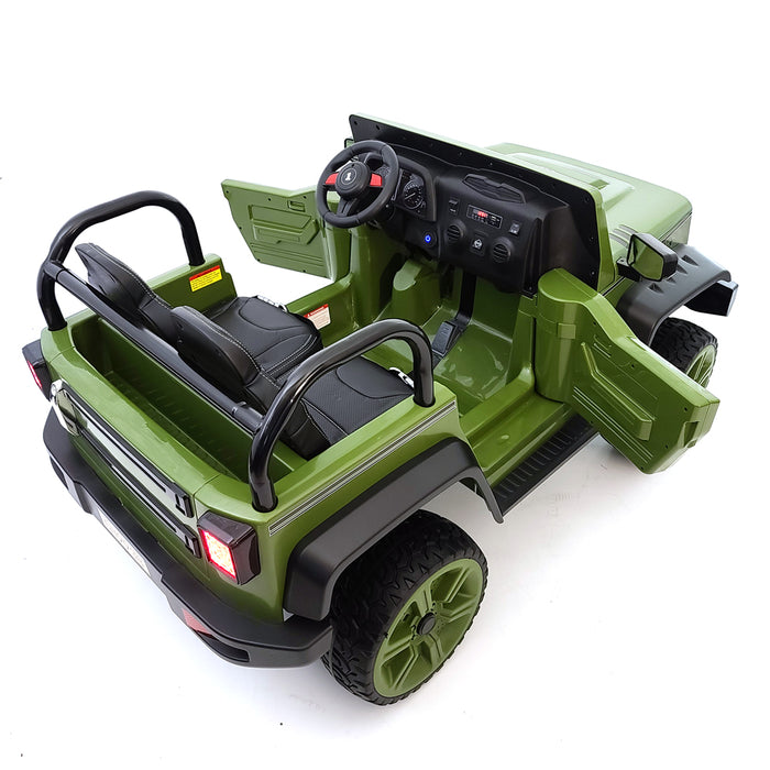 Electric Kids Ride On Car BJ9938  Green 2 Seats Rubber Wheels 4 Motors 2.4G Remote Control FM Radio