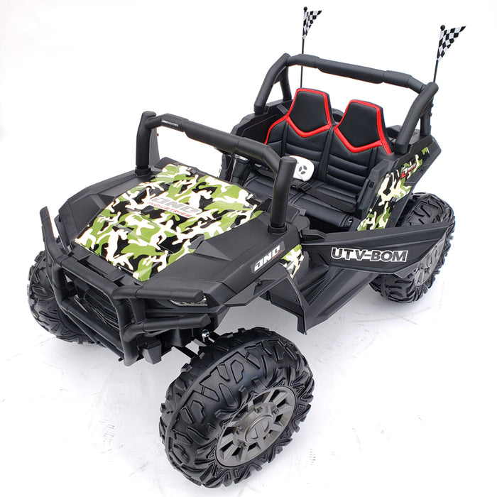Kids Electric Buggy-BJC999-24V-army-green 2 Seats Rubber Wheels 2 Motors 200 Watts Each TV Screen 24 Volts